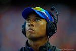 Florida Gators coach Chris Leak looks up at the jumbotron prior to the start of the game against the Kentucky Wildcats.  Florida Gators vs Kentucky Wildcats.  September 13th, 2014. Gator Country photo by David Bowie.