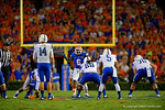 Florida Gators defensive lineman Dante Fowler, Jr. stands at the line of scrimmage yelling at Kentucky Wildcats quarterback Patrick Towles in the first half.  Florida Gators vs Kentucky Wildcats.  September 13th, 2014. Gator Country photo by David Bowie.