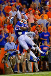 Florida Gators defensive back Brian Poole breaks up the pass into the endzone on third down during the third overtime against the Kentucky Wildcats.  Florida Gators vs Kentucky Wildcats.  September 13th, 2014. Gator Country photo by David Bowie.