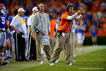 Florida Gators special teams coordinator Coleman Hutzler yells at his players during overtime.  Florida Gators vs Kentucky Wildcats.  September 13th, 2014. Gator Country photo by David Bowie.