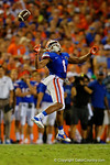 Florida Gators defensive back Vernon Hargreaves, III leaps into the air trying to intercept the ball  during the second half against the Kentucky Wildcats. Florida Gators vs Kentucky Wildcats.  September 13th, 2014. Gator Country photo by David Bowie.