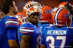 Florida Gators wide receiver Raphael Andrades during a timeout in the first half.  Florida Gators vs Kentucky Wildcats.  September 13th, 2014. Gator Country photo by David Bowie.