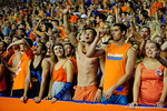Florida Gators fans cheer on their team during the first half against the Kentucky Wildcats.  Florida Gators vs Kentucky Wildcats.  September 13th, 2014. Gator Country photo by David Bowie.