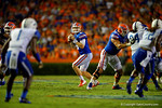 Florida Gators quarterback Jeff Driskel looks downfield  during the second half against the Kentucky Wildcats. Florida Gators vs Kentucky Wildcats.  September 13th, 2014. Gator Country photo by David Bowie.