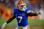 Florida Gators safety Duke Dawson signals to the sideline in the first half against the Kentucky Wildcats.  Florida Gators vs Kentucky Wildcats.  September 13th, 2014. Gator Country photo by David Bowie.