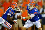 Florida Gators quarterback Jeff Driskel turns and hands the ball off to Florida Gators running back Kelvin Taylor in the first half against the Kentucky Wildcats.  Florida Gators vs Kentucky Wildcats.  September 13th, 2014. Gator Country photo by David Bowie.