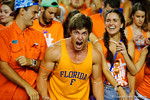 A Florida Gators fan screams into the camera during the first half against the Kentucky Wildcats.  Florida Gators vs Kentucky Wildcats.  September 13th, 2014. Gator Country photo by David Bowie.