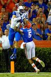 Florida Gators defensive back Jalen Tabor breaks up the pass in the endzone to Kentucky Wildcats tight end Steven Borden in the first half.  Florida Gators vs Kentucky Wildcats.  September 13th, 2014. Gator Country photo by David Bowie.