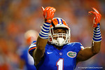 Florida Gators defensive back Vernon Hargreaves, III signals to the crowd to get loud in the first half against the Kentucky Wildcats.  Florida Gators vs Kentucky Wildcats.  September 13th, 2014. Gator Country photo by David Bowie.