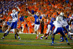 Florida Gators quarterback Jeff Driskel throws downfield over leaping Kentucky Wildcats cornerback Blake McClain during the second half.  Florida Gators vs Kentucky Wildcats.  September 13th, 2014. Gator Country photo by David Bowie.