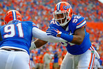 Florida Gators defensive lineman Gerald Willis during a blocking drill before the start of the game against the Kentucky Wildcats.  Florida Gators vs Kentucky Wildcats.  September 13th, 2014. Gator Country photo by David Bowie.