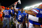 Florida Gators defensive back Jabari Gorman celebrates with his teammates following their win in triple overtime versus the Kentucky Wildcats.  Florida Gators vs Kentucky Wildcats.  September 13th, 2014. Gator Country photo by David Bowie.