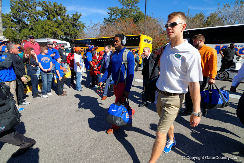 The Florida Gators march into Doak Campbell Stadium for their game against the Seminoles.  Florida Gators vs FSU Seminoles.  November 22th, 2014. Gator Country photo by David Bowie.