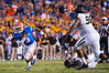 Florida Gators quarterback Treon Harris rushes upfield during the fourth quarter.  Florida Gators vs Missouri Tigers.  October 18th, 2014. Gator Country photo by David Bowie.