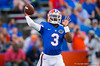 Florida Gators quarterback Treon Harris throwing during pre-game.  Florida Gators vs Missouri Tigers.  October 18th, 2014. Gator Country photo by David Bowie.