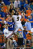 Missouri Tigers safety Braylon Webb leaps into the air for the third Florida interception of the day.  Florida Gators vs Missouri Tigers.  October 18th, 2014. Gator Country photo by David Bowie.
