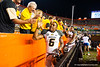 Missouri Tigers tailback Marcus Murphy high fives the fans following their win.   Florida Gators vs Missouri Tigers.  October 18th, 2014. Gator Country photo by David Bowie.