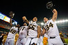 The Missouri Tigers celebrate after the win against Florida 42-17.  Florida Gators vs Missouri Tigers.  October 18th, 2014. Gator Country photo by David Bowie.