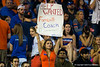 A Florida Gator fan holds up a sign asking for the Gators to fire Florida Gators Head Coach Will Muschamp.  Florida Gators vs Missouri Tigers.  October 18th, 2014. Gator Country photo by David Bowie.