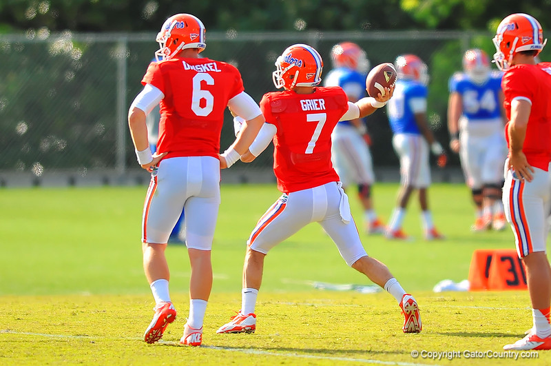 Gator QB Will Grier throws downfield during practice.  Florida Gators Spring Practice 2014.  March 26st, 2014.  Gator Country photo by David Bowie.