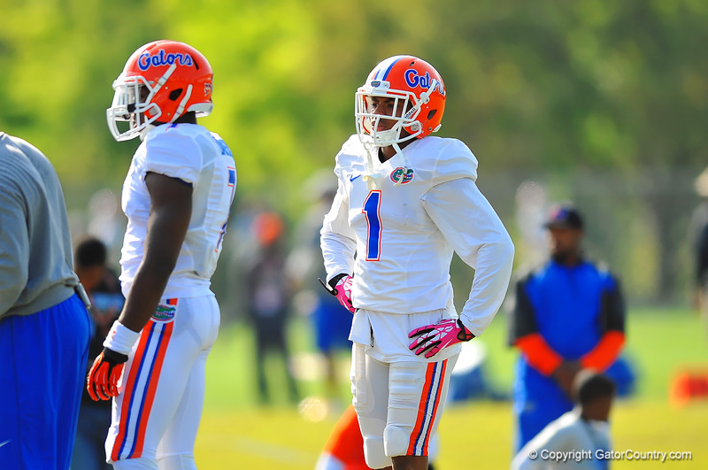DB Vernon Hargreaves, III awaits his turn for a defensive backs drill.  Florida Gators Spring Practice 2014.  March 26st, 2014.  Gator Country photo by David Bowie.