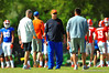 Gator offensive coordinator Kurt Roper walks the field during practice.  Florida Gators Spring Practice 2014.  March 26st, 2014.  Gator Country photo by David Bowie.