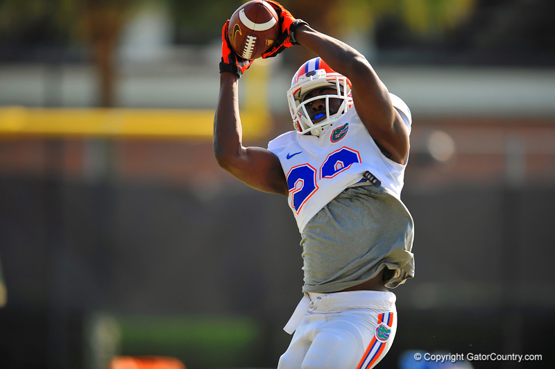 LB Jeremi Powell leaps into the air to match the grab during practice.  Florida Gators Spring Practice 2014.  March 26st, 2014.  Gator Country photo by David Bowie.