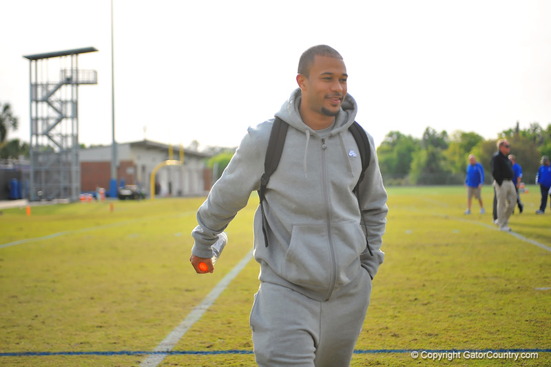 Former Gator DB Jeremy Brown smiles as he leaves from watching practice.  Florida Gators Spring Practice 2014.  March 26st, 2014.  Gator Country photo by David Bowie.