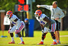 OL Darious Cummings and DL Bryan Cox, Jr. line up for a defensive drill during practice.  Florida Gators Spring Practice 2014.  March 26st, 2014.  Gator Country photo by David Bowie.