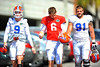 Gators LB Matt Rolin, QB Jeff Driskel and DL Joey Ivie walk toward practice.  Florida Gators Spring Practice 2014.  March 26st, 2014.  Gator Country photo by David Bowie.