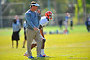 Gator Head Coach Will Muschamp works with the defensive backs during practice.  Florida Gators Spring Practice 2014.  March 26st, 2014.  Gator Country photo by David Bowie.