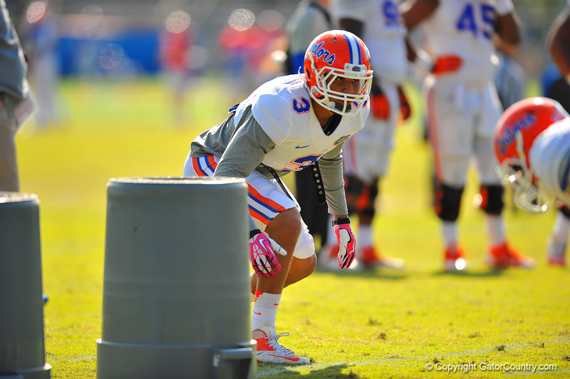 Gator LB Antonio Morrison lines up for the start of a drill during practice.  Florida Gators Spring Practice 2014.  March 26st, 2014.  Gator Country photo by David Bowie.