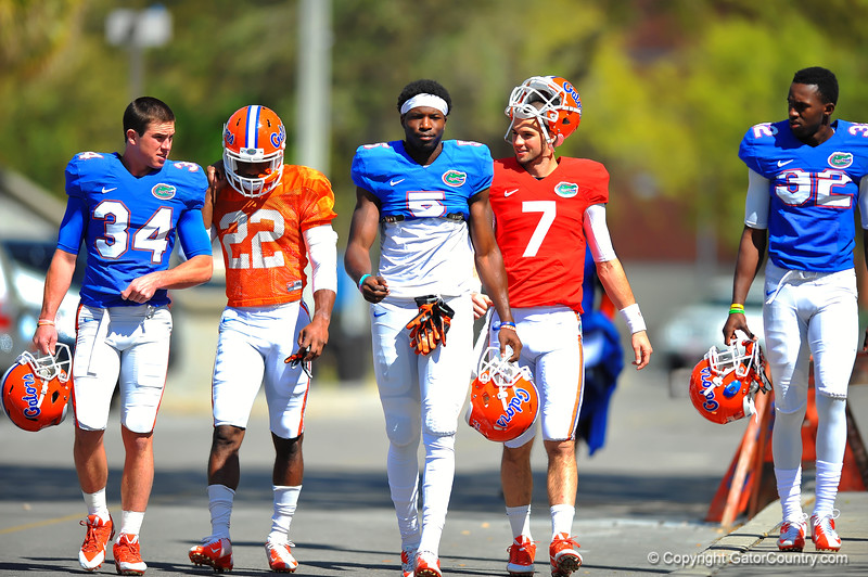 Gators (L to R) WR Case Harrison, Nick Washington, Ahmad Fullwood, QB Will Grier and WR D.L. Powell walk towards spring practice.  Florida Gators Spring Practice 2014.  March 26st, 2014.  Gator Country photo by David Bowie.