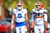 DB Jalen Tabor and LB Michael Taylor walk toward practice. Florida Gators Spring Practice 2014.  March 26st, 2014.  Gator Country photo by David Bowie.