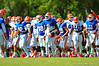 The Gators huddle up and then break out for their positioning drills.  Florida Gators Spring Practice 2014.  March 26st, 2014.  Gator Country photo by David Bowie.