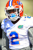 DB Jabari Gorman walks toward the football practice field. Florida Gators Spring Practice 2014.  March 26st, 2014.  Gator Country photo by David Bowie.