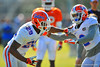 DB Evan Schroeder and DB Jabari Gorman practice against each other during a defensive backs drill.  Florida Gators Spring Practice 2014.  March 26st, 2014.  Gator Country photo by David Bowie.