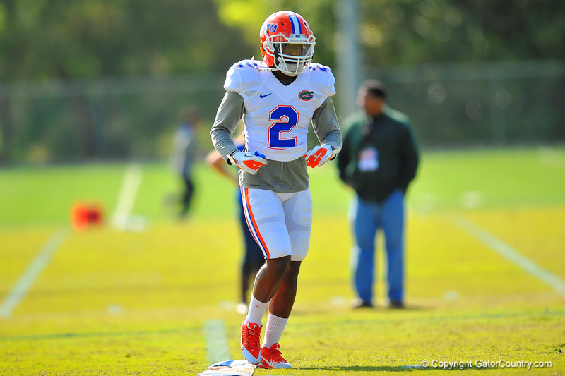 DB Jabari Gorman jogs to his next position during practice.  Florida Gators Spring Practice 2014.  March 26st, 2014.  Gator Country photo by David Bowie.