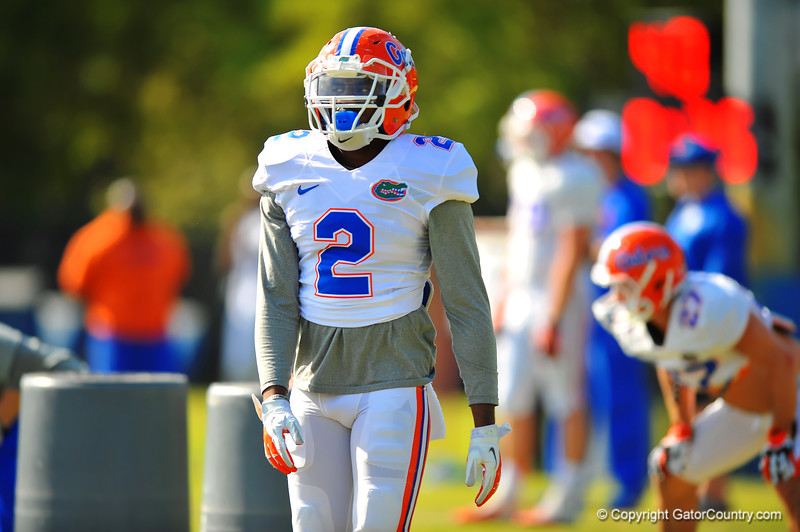 DB Jabari Gorman walks to the next drill during practice.  Florida Gators Spring Practice 2014.  March 26st, 2014.  Gator Country photo by David Bowie.