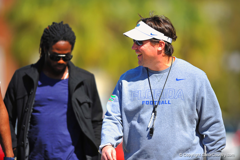 Head Coach Will Muschamp walks to practice.  Florida Gators Spring Practice 2014.  March 26st, 2014.  Gator Country photo by David Bowie.