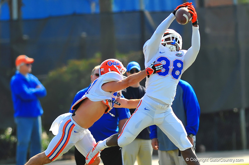 DB Kerollin Francois leaps into the air to make the catch while being defended by DB Ben Peacock during practice.  Florida Gators Spring Practice 2014.  March 26st, 2014.  Gator Country photo by David Bowie.