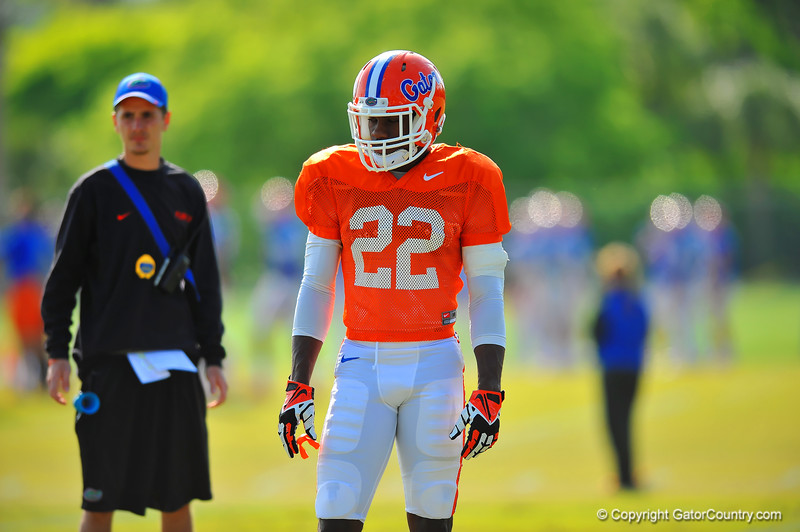 DB Nick Washington watches on during practice.  Florida Gators Spring Practice 2014.  March 26st, 2014.  Gator Country photo by David Bowie.