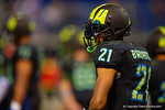 Team Armour WR Cordell Broadus, son of Snoop Dog, looks on waiting for play to resume during a timeout.  2015 Under Armour All-America High School Football Game.  January 2nd, 2015. Gator Country photo by David Bowie.