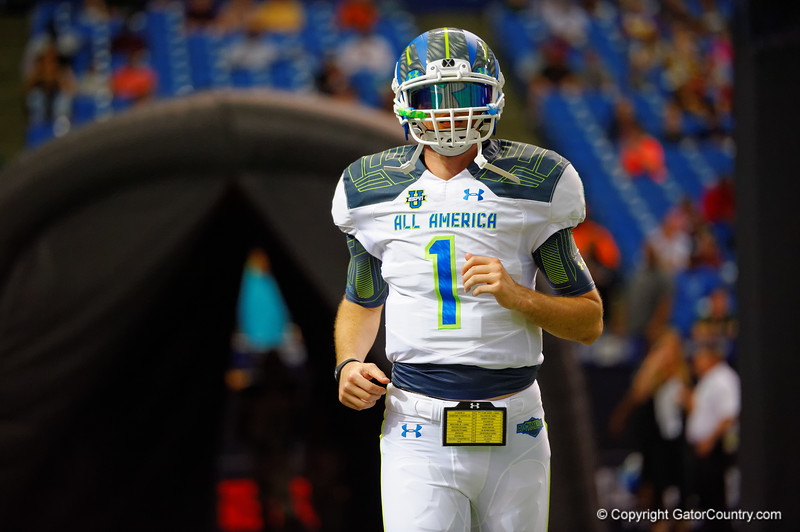 Team Highlight QB Jarrett Stidham runs out during player introductions.  2015 Under Armour All-America High School Football Game.  January 2nd, 2015. Gator Country photo by David Bowie.