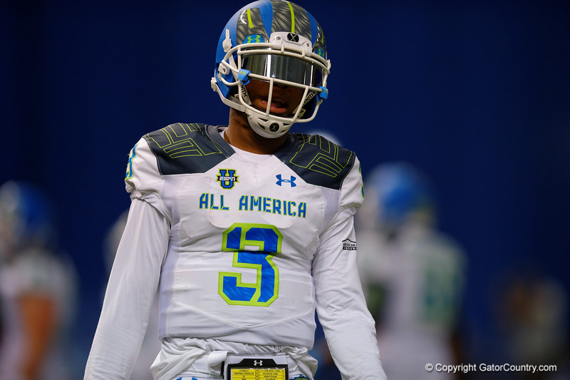 Team Highlight QB Deondre Francois looks to the sideline for the play call.  2015 Under Armour All-America High School Football Game.  January 2nd, 2015. Gator Country photo by David Bowie.