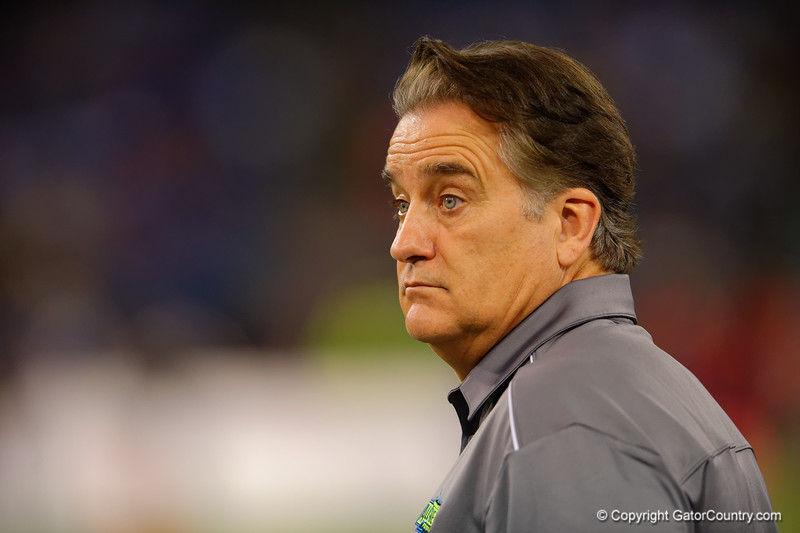 Team Armour head coach Steve Mariucci looks on as game gets away from his team in the third quarter.  2015 Under Armour All-America High School Football Game.  January 2nd, 2015. Gator Country photo by David Bowie.