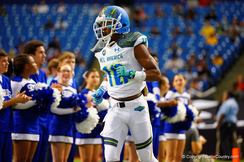 Team Highlight RB Ray-Ray McCloud III runs out during player introductions.  2015 Under Armour All-America High School Football Game.  January 2nd, 2015. Gator Country photo by David Bowie.