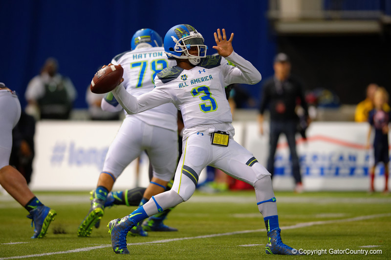 Team Highlight QB Deondre Francois scrambles out of the pocket and throws a bomb downfield.  2015 Under Armour All-America High School Football Game.  January 2nd, 2015. Gator Country photo by David Bowie.