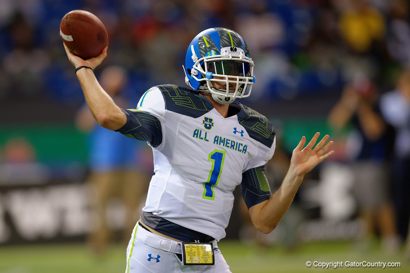 Team Highlight QB Jarrett Stidham throws downfield during the third quarter.  2015 Under Armour All-America High School Football Game.  January 2nd, 2015. Gator Country photo by David Bowie.
