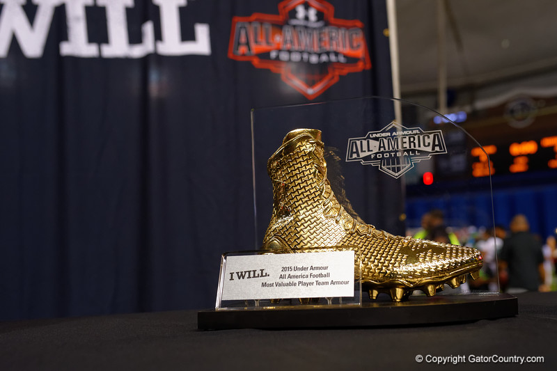 MVP trophy for Team Armour.  2015 Under Armour All-America High School Football Game.  January 2nd, 2015. Gator Country photo by David Bowie.